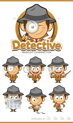 Detective Mascot Character by sundatoon 7 Expressions detective mascot character, High quality vector character mascot illustration. Fully customizable in AI and EPS, Als People Illustration, Graphic Illustration, Mascot Design, Logo Design, Detective, Sherlock, Lab Logo, Spy Party, Cool Logo