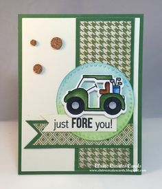 card golf cart sport sporty landscape green tee off tee-riffic - Some Paper Smooches Goodies The Paper Players: - A Sketch Challenge from Nance Masculine Birthday Cards, Masculine Cards, Valentine Greeting Cards, Greeting Cards Handmade, Baseball Card Shop, Golf Birthday Cards, Golf Cards, Retirement Cards, Cute Cards