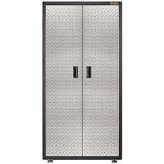 Gladiator Easy-To-Assemble 72 in. H x 36 in. W x 18 in. D Steel Freestanding Garage Cabinet in Silver Tread