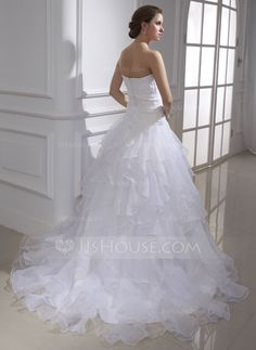 Ball-Gown Sweetheart Court Train Organza Wedding Dress With Lace Beading Cascading Ruffles (002015467) - JJsHouse