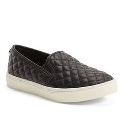 Girl's Steve Madden Ecentrcq Sneaker, Size 3 M - Black  Lush diamond quilting puts a fresh twist on the skater-inspired profile of a sporty slip-on. Color(s): black faux leather, grey quilted fabric.
