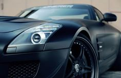 Check out the paint job on this SLS. #black #Mercedes