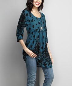 Take a look at this Emerald Vine Dot Empire-Waist Tunic today!
