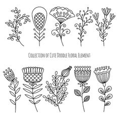 Hand drawn doodle flowers and herbs. Wedding Card Templates