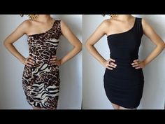 Fashion DIY How to Make A One Shoulder Reversible Dress Party Dress Cocktail Clubbing Sexy - YouTube
