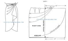 Sarong style skirt.  Good image but the tutorial for the pattern stops abruptly.