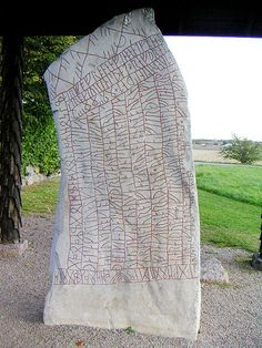 An inscription using both cipher runes, the Elder Futhark and the Younger Futhark, on the 9th century Rök Runestone in Sweden. from Wkipedia - Runes