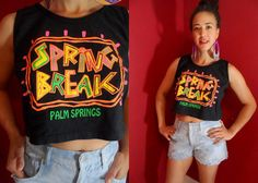 90s SPRING BREAK Crop Tank Oversized Baggy by MirrorballBoutique, $35.00 OH HIGH SCHOOL, :)