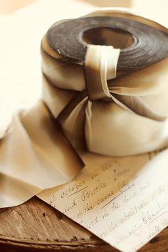 2.5 inch Vintage Ivory silk ribbon. $22.50, via Etsy.