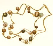 DIY Necklace with gold and pearl beads