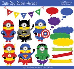Digital Clipart - Cute Spy Super Heroes for Scrapbooking, Invitations, Paper crafts, Cards Making, commercial use INSTANT DOWNLOAD printable