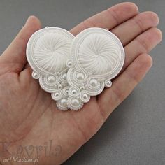 kolczyki soutache white wedding