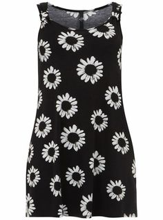 Evans Black And Ivory Daisy Print Knot Top - Tops & Tunics - Clothing