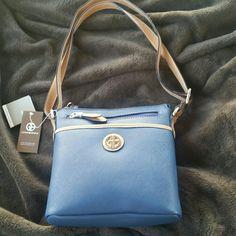 Giani Bernini handbag. Blue, with tan, has 3 side pockets and 2 inside. Giani Bernini Bags Mini Bags