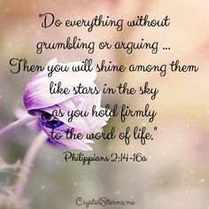 """How do we do everything without grumbling or arguing so we can be shining among them like stars in the sky as it talks about in Philippians 2:14-16? By holding firmly to the word of life. """"Do everything without grumbling or arguing ... Then you will shine among them like stars in the sky as you hold firmly to the word of life."""""""
