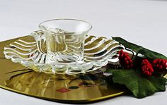 12pc Set Federal Glass Shell Cocktail Plates with Dipping Glasses - by TheRealmCollectibles