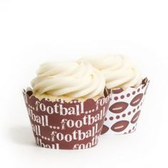 #Football #Cupcake Wrappers Reversible PERFECT for #super #bowl