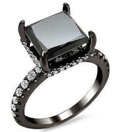 3.30 Ct Black Princess Cut Sim Diamond Engagement Ring In 14K Black Gold #Jewelsbyeanda #SolitairewithAccents #EngagementWeddingAnniversaryPromise