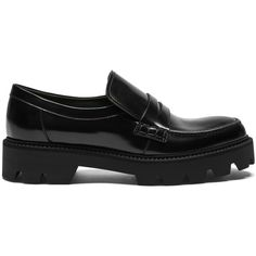 Mulberry Track Flat Loafer (1,895 SAR) ❤ liked on Polyvore featuring shoes, loafers, black, black shoes, rubber sole shoes, black rubber sole shoes, flat loafers and loafer shoes