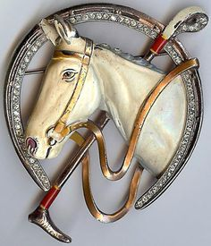 Trifari rare large vintage enamel horse & riding crop rhinestone horseshoe pin