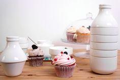 Service à café Withmilk / Empilable : 4 tasses + bol + pot à lait Blanc - Doiy