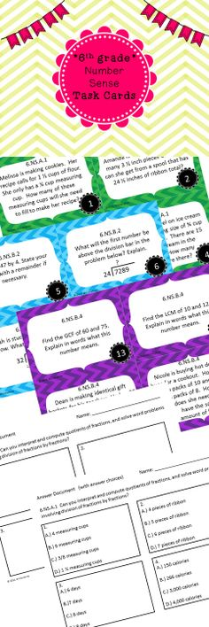 Test Prep time!  32 task cards covering every number sense topic in the 6th grade common core.
