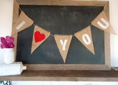 I Love You Triangle Wedding / Enagement save the date Burlap Banner Valentines Day / by SweetThymes, $19.99