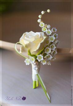 Купить Бутоньерка жениха. Роза и ландыши - белый, айвори, ванильный, розы, ландыши, бутоньерка для жениха