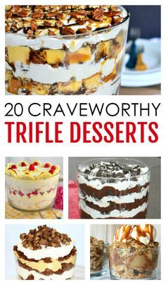 Be the host with the most with these amazing 20 Craveworthy Trifle Desserts! Trifles are one of the easiest, yet most impressive desserts on the planet. These 20 craveworthy trifle desserts will leave you wanting more! Trifle Bowl Recipes, Trifle Dish, Trifle Recipe, Dessert Recipes, Chef Recipes, Recipies, Cooking Recipes, Mini Desserts, Layered Desserts