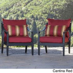 RST Brands Astoria Aluminum Outdoor Club Chairs with Cushions (Set of 2) (Cantina Red), Size 2-Piece Sets, Patio Furniture