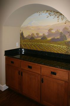 butler's pantry ideas | The Mural Works | Murals and Fine  Slg Art  Mural idea is interesting. At back of wine cellar