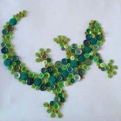 Button Crafts Inspiration: Button Lizard Art | #buttoncrafts