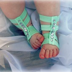 Pretty mint green baby girls gladiator sandals! Find them at Taye Made Design on Etsy