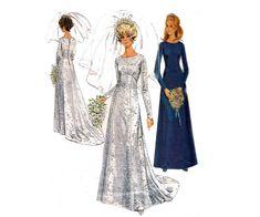 1960s Wedding Dress Pattern Empire Waist by allthepreciousthings, $35.00