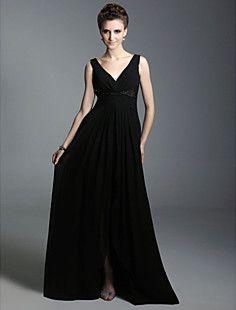 A-line V-neck Floor-length Chiffon Evening Dress inspired by... – USD $ 127.39