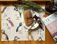 Puffin placemats - www.etsy.com/shop/faunahomedesigns