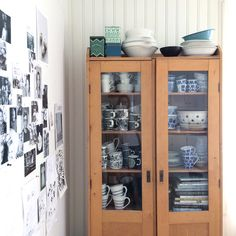 Vintage cupboard. Coffee cups. Collection. Tableware. Blue and white china. Marimekko. Arabia Finland. Interiors. By Johanna Sandberg.
