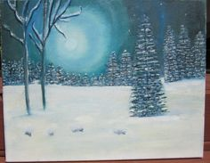 Snowy Night in the Woods