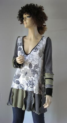 L to XL Long Tunic Gray Sage by maisestudio on Etsy