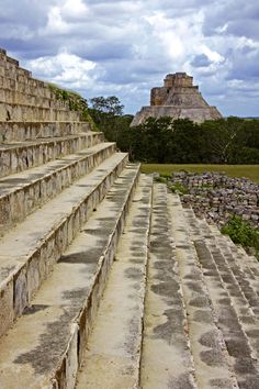 The Pyramid of the Magician is in Uxmal, a large pre-columbian Maya city in the Yucatan Peninsula, in Mexico.