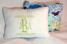 Embroidered  Monogrammed Pillow Cover  by JulieButlerCreations, $28.50