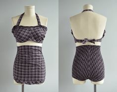 Vintage 1940s Swimsuit / 40s Two Piece Bathing Suit Play Suit Black and Pink with Ruffles
