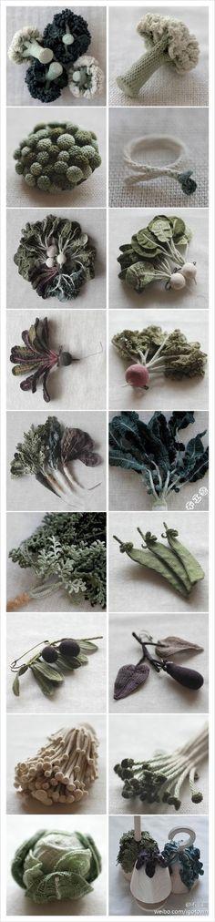 Beautiful Crochet Fruits & Veggies Art by Jung Jung Crochet Fruit, Crochet Food, Cute Crochet, Crochet Flowers, Knit Crochet, Japanese Crochet, Yarn Bombing, Freeform Crochet, Yarn Crafts