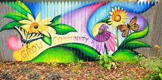Warrenville Fence Mural   Acrylic paintings and murals by Peter ...