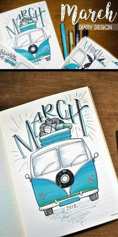 Help yourself achieve your travel goals with this DIY diary travel bullet jouranel travel bullet journal layout Bullet journal monthly cover page, March cover page, Volkswagen drawing. Bullet Journal Designs, Bullet Journal Disney, January Bullet Journal, Bullet Journal Notebook, Bullet Journal Ideas Pages, Bullet Journal Inspiration, Journal Pages, Bullet Journals, Journal Layout