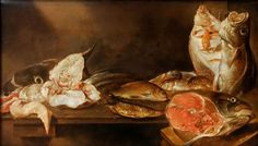Alexander Adriaenssen - Title: Still life with fish - Buy this painting as premium quality canvas art print from Modarty Art Gallery #art, #canvas, #design, #painting, #print, #poster, #decoration