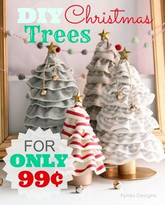 DIY Christmas Tree Cones- For ONLY 99¢! You'll never guess how easy this Christmas decor is!  A MUST see!!