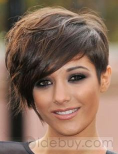 Latest Pixie Hairstyle Custom Straight Brown Celebrity Wig 100% Human Remy Hair about 8 Inches