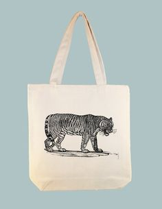 Vintage Tiger Illustration Canvas Tote   by Whimsybags, $12.00