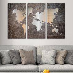 Τρίπτυχος Metal effect world map Triptych, Map, World, Decoration, Home Decor, Decor, Tri Fold Brochure, Decorating, Decorations